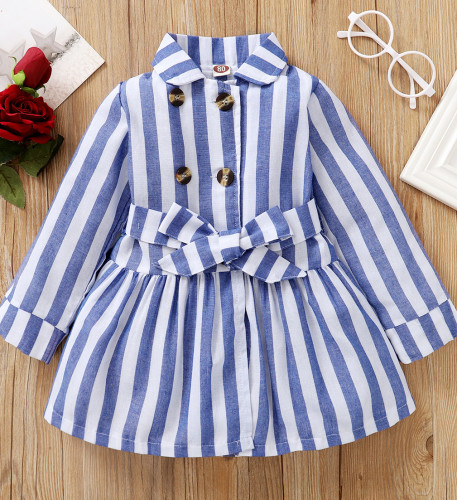 ベルト付き女の赤ちゃん長袖ストライプドレス