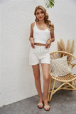 Sommer Casual Knitting Crop Weste und Shorts Matching Lounge Set