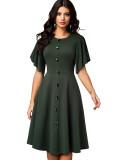 Vestido de fiesta vintage verde de verano con mangas cortas anchas