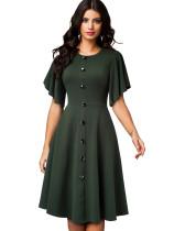 Sommergrünes Vintage-Abendkleid mit weiten kurzen Ärmeln