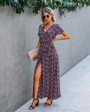 Vestido largo envuelto floral elegante de verano con mangas cortas