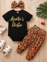 Ensemble de barboteuses et pantalons léopard d'été pour bébé fille avec bandeau assorti