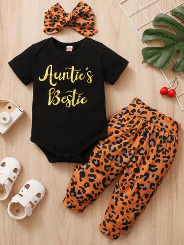 Pagliaccetti e pantaloni leopardati estivi per neonata con fascia abbinata