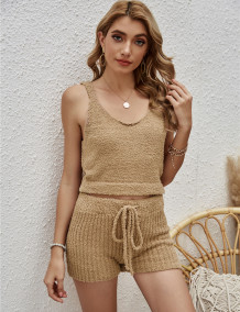 Summer Casual Knitting Crop Vest and Shorts Matching Lounge Set
