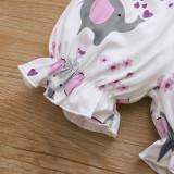 Conjunto de mamelucos y pantalones cortos de animales de verano para niña con diadema a juego