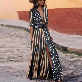 Formelles Polka and Stripes Langes Boho-Kleid