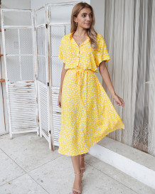 Summer Print Elegant Drawstrings Long Casual Dress