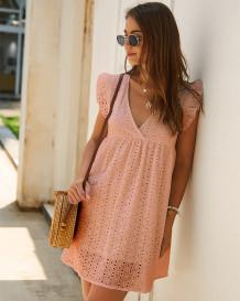 Summer Pink Hollow Out V-Neck A-line Dress