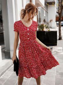Summer V-Neck Floral Skater Dress with Short Sleeves