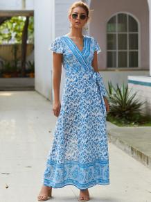Print Flower Short Sleeve Long Wrap Dress
