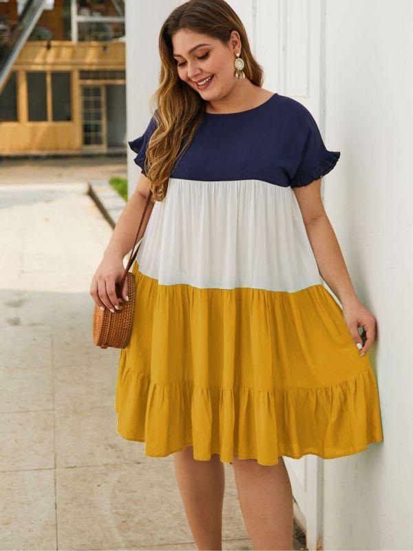 Plus Size Sommer Kontrast A-Linie Rüschenkleid