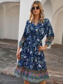 Summer Bohemian Print Skater Dress with Belt
