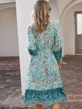 Sommer Bohemian Print Skater Kleid mit Gürtel