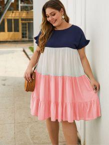Plus Size Summer Contrast A-Line Ruffle Dress