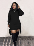 Casual Blank Knotted O-Neck Shirt Dress with Full Sleeves