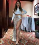 Formal High Waist Side Slit Velvet Pleated Long Skirt