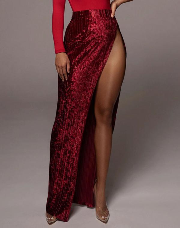 Falda larga plisada de terciopelo con abertura lateral de cintura alta formal