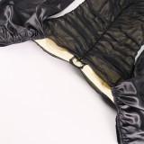 Vintage stijl pofmouwen vierkante ruches mini-jurk