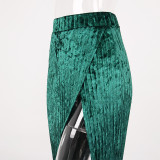 Formal High Waist Side Slit Velvet Pleated Long Skirt