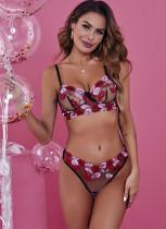 Valentinstag sexy durchsichtig Blumen-BH und Slip-Set