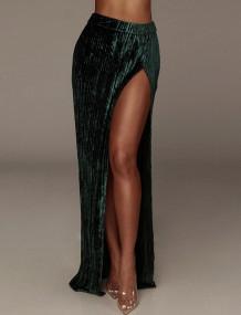 Formele fluwelen geplooide lange rok met hoge taille en split aan de zijkant