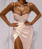 Formale einfarbige sexy irreglar Strap Kleid