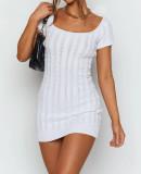 Summer White Knitted Short Sleeve Square Mini Dress