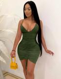 Vestito aderente verde con scollo all'americana sexy estivo