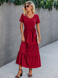 Summer Solid Color O-Neck Long Dress with Belt