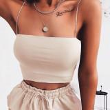 Sommer sexy einfarbige Riemen Crop Top