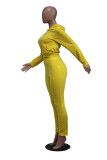 Spring Solid Color Hoodie Crop Top und Schnürhose Set