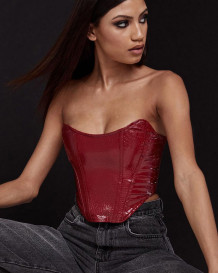 Sexy Leather Red Strapless Irregular Party Top