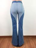High Waist Blue Heart Contrast Flare Jeans
