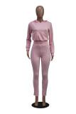 Conjunto de pantalón de chándal y sudadera con capucha de color sólido de primavera