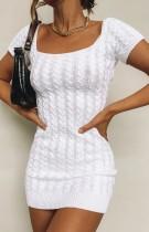 Yazlık Beyaz Örme Kısa Kol Kare Mini Elbise