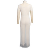 Cache-maillot long blanc d'été avec fente latérale