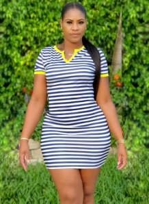 Summer Stripes Print Fit Shirt Dress