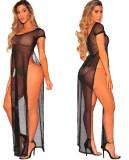 Vestido largo con abertura lateral negra de verano