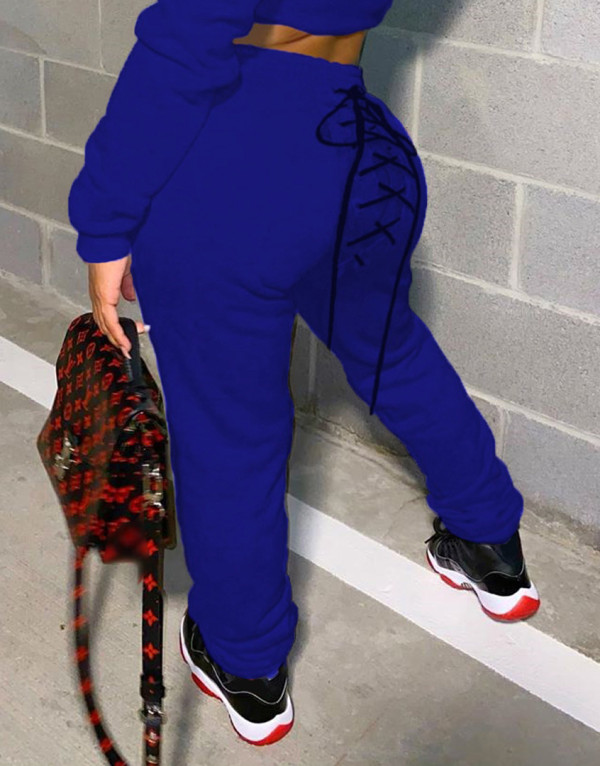 Pantalones deportivos con cordones de color liso de primavera