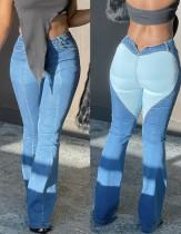 High Waist Blue Heart Kontrast Flare Jeans