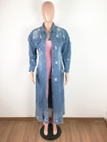 Spring Blue Denim Ripped Long Jacket with Long Sleeves