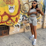 Summer Grey Sports Tube Crop Top y Shorts a juego
