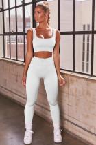 Conjunto de sujetador de yoga de color sólido de verano y legging de cintura alta