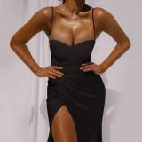 Vestido formal de tirantes irregulares sexy de color sólido