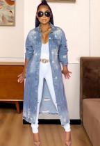 Spring Blue Denim Ripped Long Jacket mit langen Ärmeln