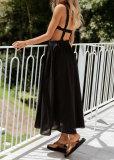 Sommer einfarbiges ärmelloses langes Skaterkleid