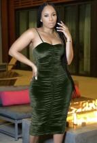 Yaz Dantelli Kadife Askılı Midi Elbise