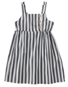 Kız Bebek Yaz Çizgili Askılı Elbise