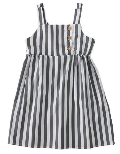 女の赤ちゃんサマーストライププリントストラップドレス