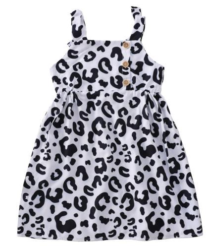 女の赤ちゃんサマーカウプリントストラップドレス